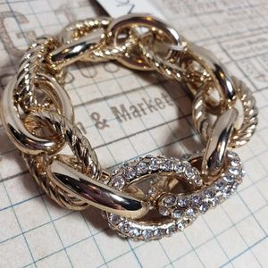 Jewelry - Punch Gold and Crystal Bracelet